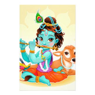 Krishna Indian God playing flute illustration Stationery Design