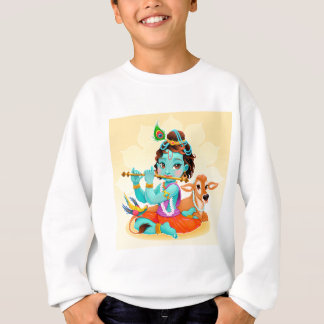 Krishna Indian God playing flute illustration Sweatshirt