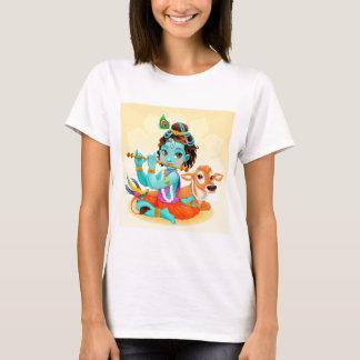Krishna Indian God playing flute illustration T-Shirt