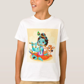 Krishna Indian God playing flute illustration T-Shirt