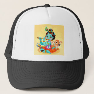 Krishna Indian God playing flute illustration Trucker Hat
