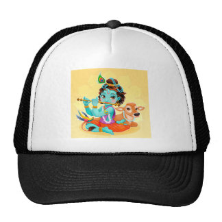 Krishna Indian God playing flute illustration Trucker Hat