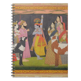 Krishna lifting Mount Govardhana, from the 'Bhagav Notebooks