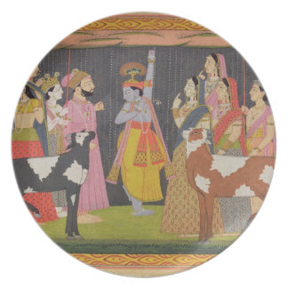 Krishna lifting Mount Govardhana, from the 'Bhagav Plate