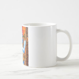 KRISHNA THE FLUTE PLAYER INDIAN ABSTRACT COFFEE MUG