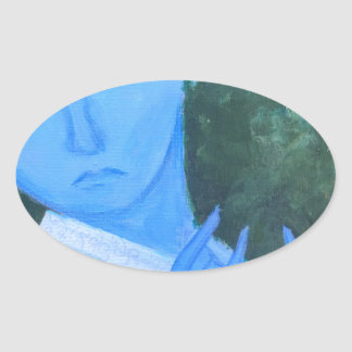 Krishna with Flute Oval Sticker