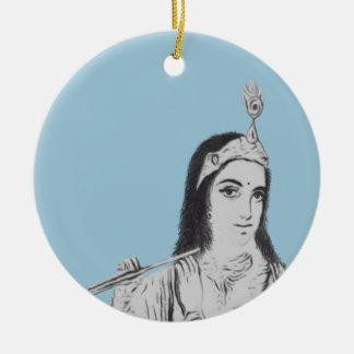 Krishna with Flute Round Ceramic Ornament