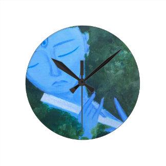 Krishna with Flute Round Clock