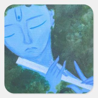 Krishna with Flute Square Sticker