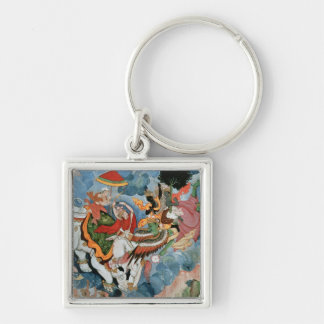 Krishna's combat with Indra, c.1590 Silver-Colored Square Keychain
