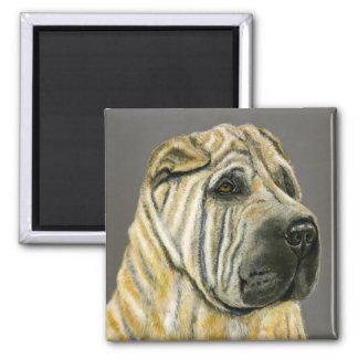 Kruger - Shar Pei Dog Art Square Magnet