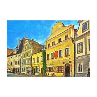 Krumlov. Fragment of urban architecture. Canvas Print