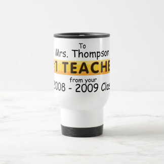KRW #1 Teacher Custom Name and Date Travel Mug