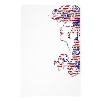 KRW American Beauty Patriotic Profile Stationery