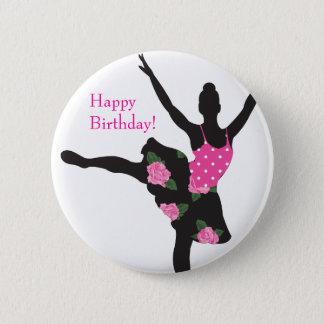 KRW Ballerina Rose Happy Birthday Button Favor