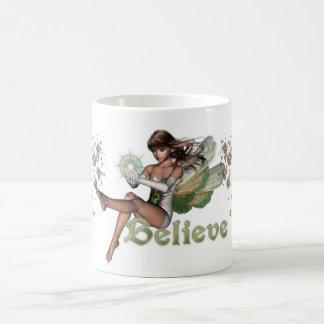 KRW Believe in Faeries Brunette Classic White Coffee Mug