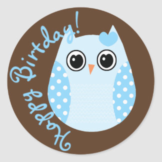 KRW Blue and Brown Dot Birthday Owl Sticker