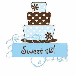 KRW Blue and Brown Sweet 16 Birthday Cake Top Photo Cutouts