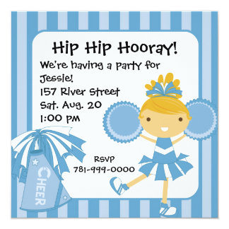 KRW Blue Cheerleader 2 Sided Birthday Invitation