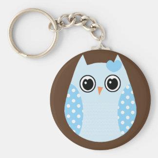 KRW Blue Polka Dot Owl Keychain Favor