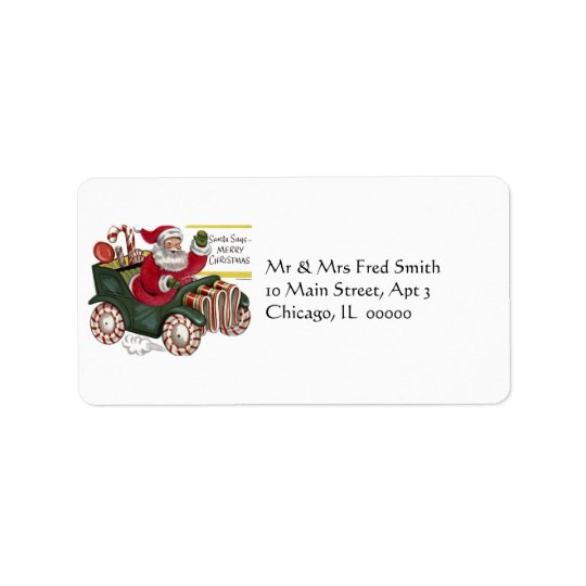 KRW Cartoon Driving Santa Claus Address Label