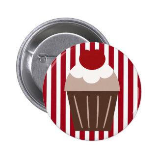 KRW Chocolate Cherry Cupcake Striped 2 Inch Round Button