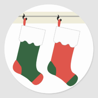 KRW Christmas Stockings Holiday Classic Round Sticker