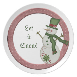 KRW Country Snowman Let It Snow Plate