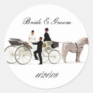 KRW Custom Elegant Horse Drawn Carriage Wedding Round Sticker