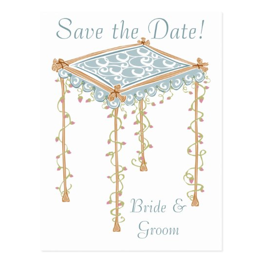 KRW Custom Jewish Wedding Canopy Save the Date Postcard