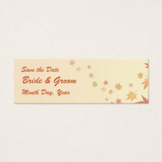 KRW Custom Save the Date Fall Leaves Wedding Mini Business Card