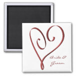 KRW Custom Stylized Red Heart Wedding Favour Fridge Magnet