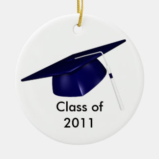 KRW Custom Text Blue Graduation Cap Ornament