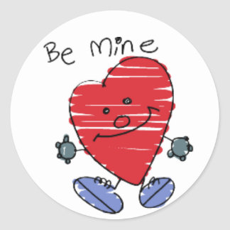 KRW Cute Be Mine Heart Valentine Classic Round Sticker