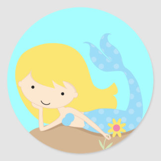 KRW Cute Blue Mermaid Classic Round Sticker
