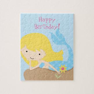 KRW Cute Blue Mermaid Happy Birthday Jigsaw Puzzle