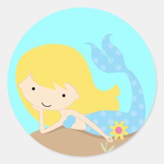 KRW Cute Blue Mermaid Round Sticker