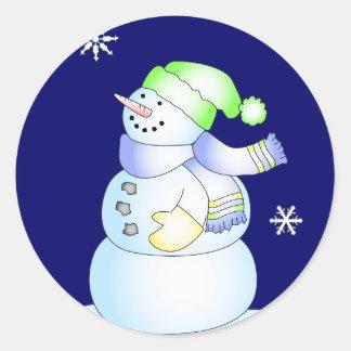 KRW Cute Cartoon Snowman Holiday Classic Round Sticker
