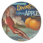 KRW Diving Girl Apples Vintage Fruit Label Plate