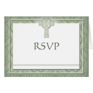KRW Elegant Celtic Cross Irish RSVP Cards