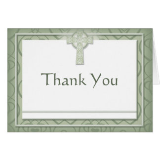 KRW Elegant Celtic Cross Irish Thank You Note Card