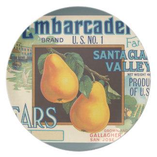 KRW Embarcadero Pears Vintage Fruit Label Plate