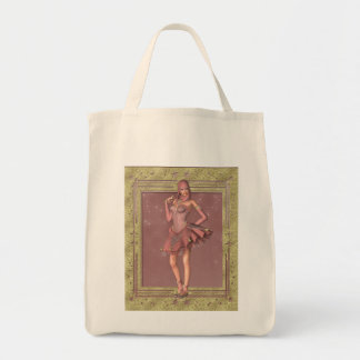 KRW Fantasy Jester in Pink and Gold Grocery Tote Bag