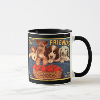 KRW Four Friends Vintage Tomato Crate Label Mug