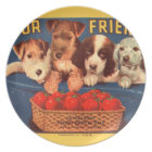 KRW Four Friends Vintage Tomato Veggie Label Plate