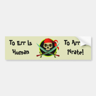 KRW Funny Pirate Joke Bumper Sticker