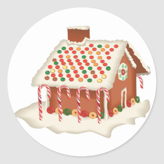 KRW Gingerbread House Holiday Classic Round Sticker