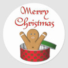KRW Gingerbread Surprise Christmas Classic Round Sticker