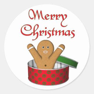 KRW Gingerbread Surprise Christmas Round Sticker