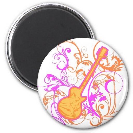 KRW Girl's Rock Guitar Grunge 2 Inch Round Magnet